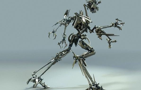 Картинка металл, движение, робот