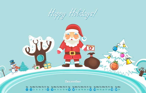 Картинка зима, письмо, снег, игрушки, елка, новый год, подарки, снеговик, new year, санта клаус, календарь, декабрь, …