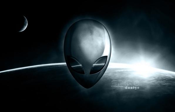 Картинка космос, земля, пришелец, Alienware