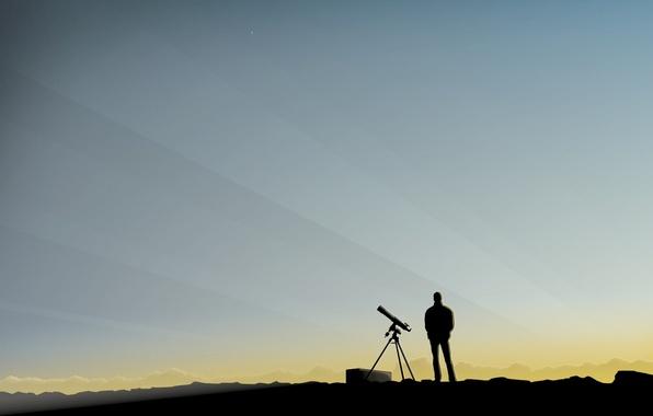 Картинка небо, человек, минимализм, подзорная труба, наблюдение