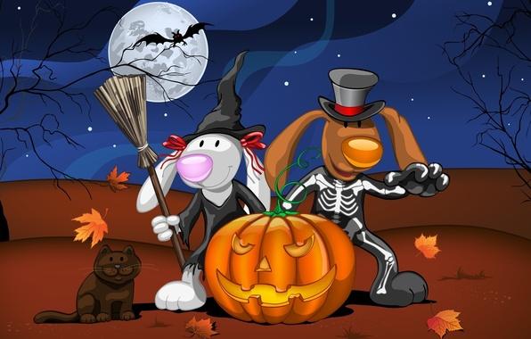 Картинка кошка, листья, ночь, звери, дерево, луна, арт, скелет, Halloween, тыква, летучая мышь, Хэллоуин, ведьма, костюмы