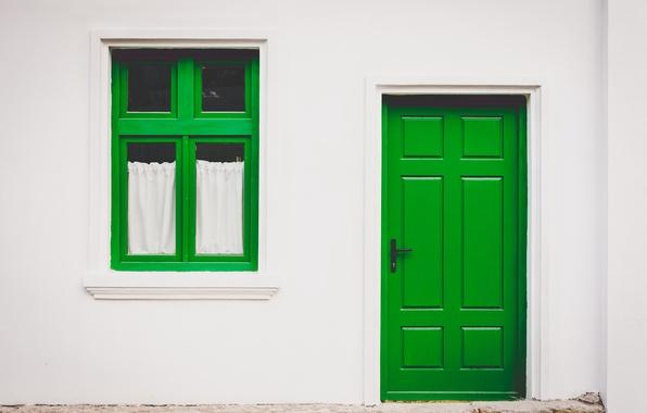 Картинка зеленый, дом, стена, дверь, окно