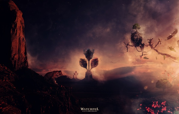 Картинка небо, деревья, тигр, скала, птица, звёзды, дымка, эмблема, орёл, desktopography