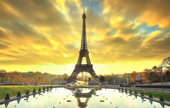 Картинка осень, деревья, город, парк, Париж, Эйфелева башня