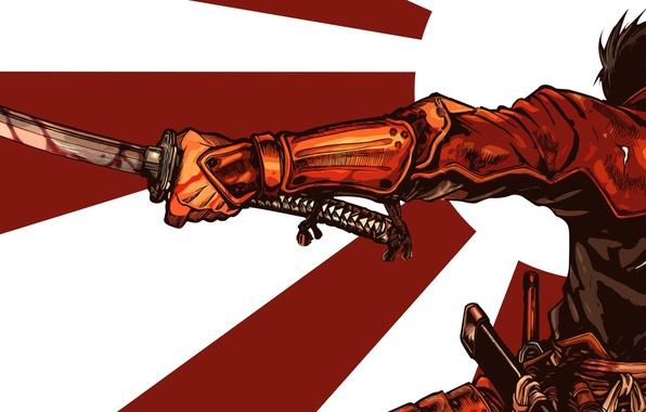 Картинка wallpaper, battlefield, sword, blood, game, armor, war, anime, katana, man, ken, flag, samurai, hero, asian, …