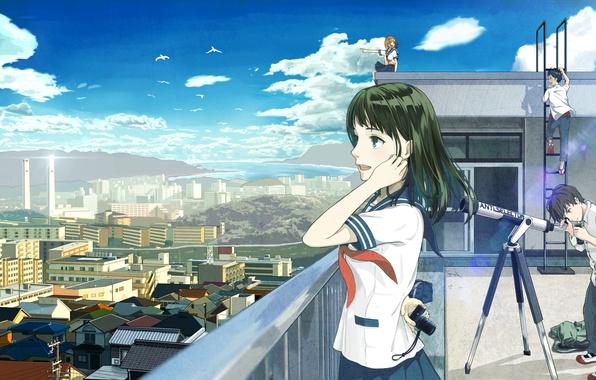 Картинка крыша, небо, облака, город, девушки, дома, аниме, арт, форма, парни, телескоп, школьники, 4ugaii, sugai