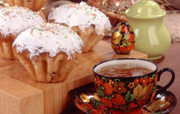 Картинка праздник, чай, яйцо, Пасха, хохлома, кулич, Easter, посыпка