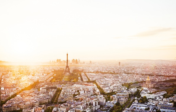 Картинка деревья, город, рассвет, Франция, Париж, здания, дороги, дома, утро, панорама, Эйфелева башня, Paris, архитектура, улицы, …