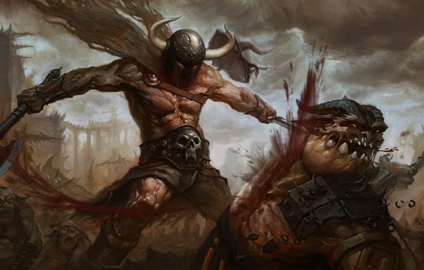 Картинка оружие, кровь, воин, арт, монстры, рога, шлем, битва