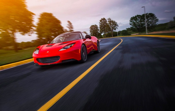 Картинка Lotus, Red, Car, Speed, Front, Sun, Sport, Road, Evora S