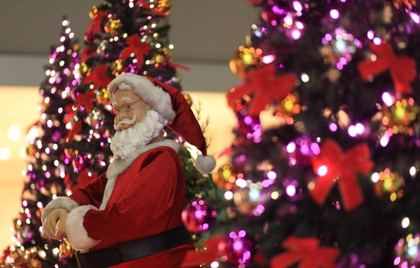 Картинка усы, праздник, елка, кукла, очки, борода, санта клаус, дед мороз