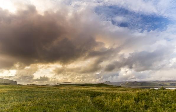 Картинка небо, тучи, природа, гора, долина, панорама, Sunset, Iceland