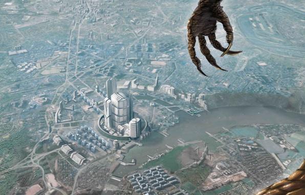 Картинка город, высота, рука, монстр, чешуя, арт, когти