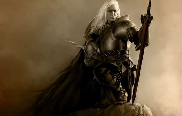 Картинка скала, оружие, меч, доспехи, воин, арт, шлем, мужчина, Эльрик