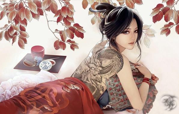 Картинка дракон, рисунок, брюнетка, тату, JX Online