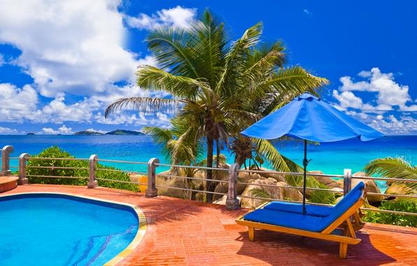 Картинка море, природа, пальмы, океан, релакс, вид, бассейн, экзотика