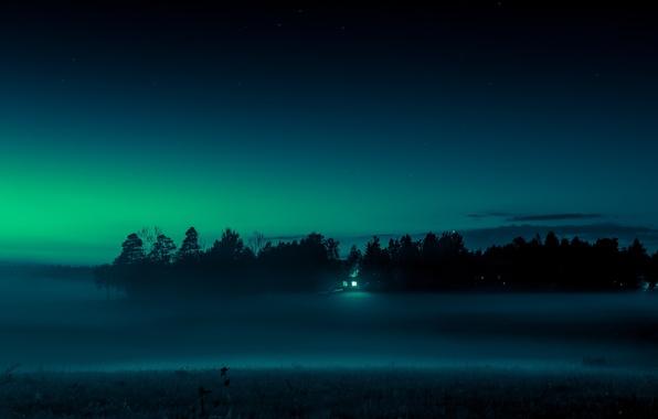 Картинка поле, пейзаж, ночь, туман