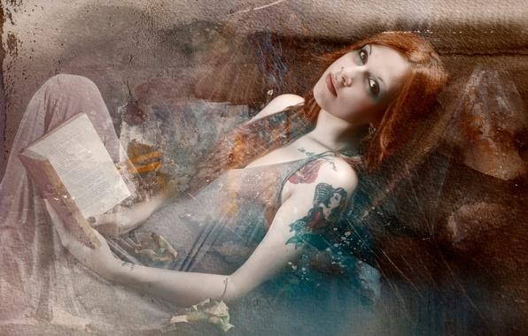 Картинка девушка, ретро, текстура, тату, царапины, книга, винтаж, фильтр