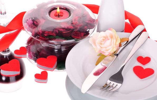Картинка романтика, роза, сердечки, love, heart, romantic, Valentine's Day, сервировка