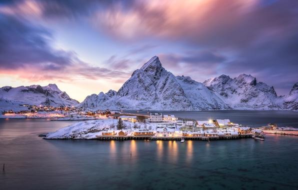 Картинка горы, остров, деревня, Норвегия, Norway, фьорд, Нурланн, Лофотенские острова, Reine, Lofoten archipelago, Рейне, Nordland