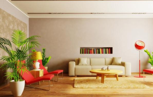 Картинка дизайн, стиль, стол, фон, комната, диван, widescreen, обои, книги, лампа, интерьер, растения, кресло, полка, wallpaper, …