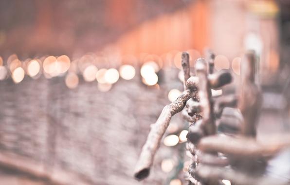 Картинка зима, макро, природа, огни, Забор, ограждение, боке