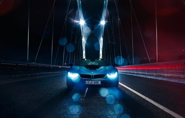 Картинка BMW, Car, Blue, Front, Bridge, Color, Rain, Sport