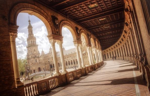 Картинка мост, люди, площадь, фонтан, Испания, колоны, Spain, Севилья, Андалусия, Andalucía, Sevilla, Plaza de España
