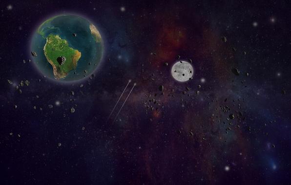 Картинка земля, звёзды, астероиды