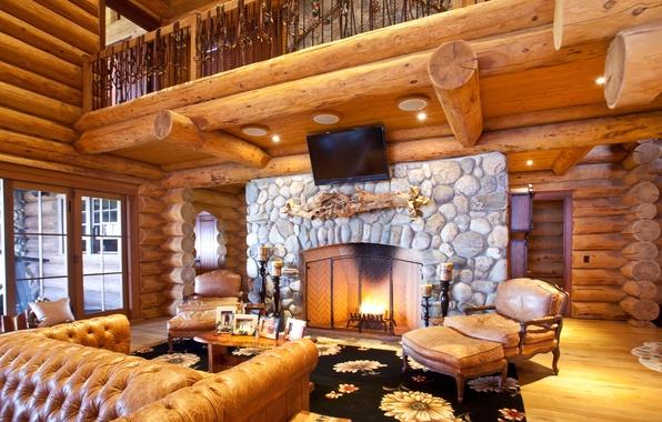 Картинка диван, дерево, дома, интерьер, телевизор, кресла, коврик, камин, interior, home, балкон., hom, деревянного