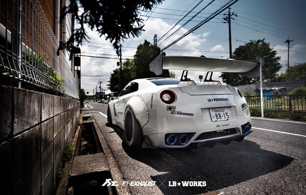 Картинка улица, тюнинг, GTR, Nissan, R35, Liberty Walk, Fi Exhaust