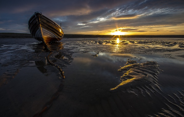 Картинка море, закат, лодка, цепь, мель, баркас