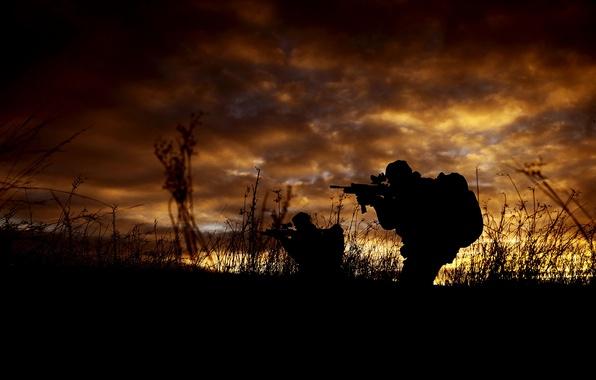 Картинка оружие, армия, силуэт, солдаты