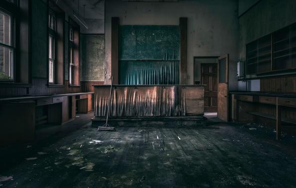 Фото обои класс, доска, зал, швабра