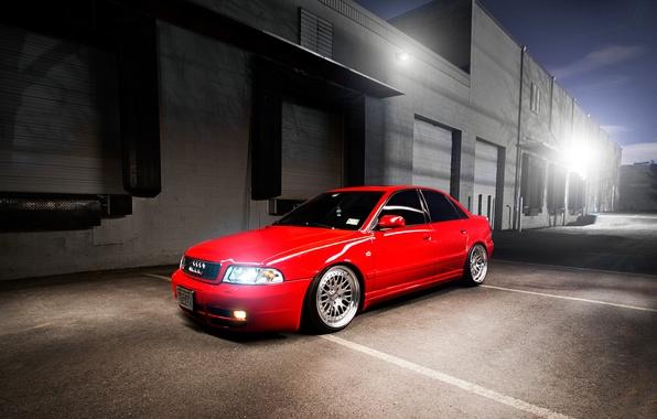 Картинка Audi, ауди, red, седан, красная, stance