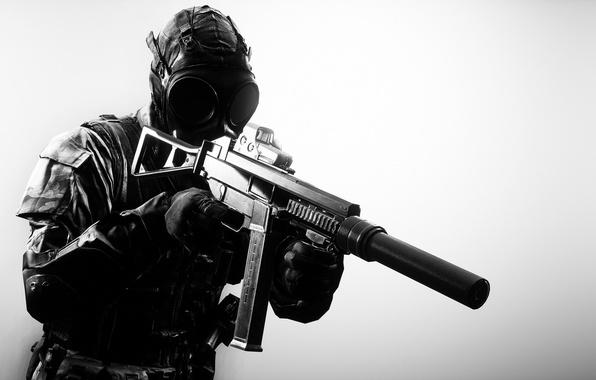 Картинка оружие, фон, солдат, противогаз, экипировка, Battlefield 4