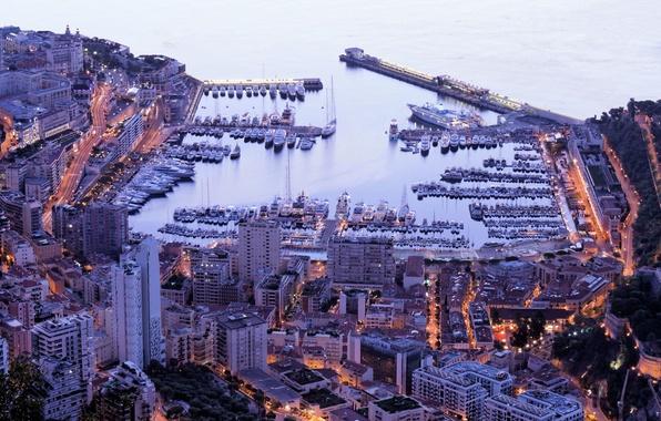 Картинка city, дома, яхты, порт, Monaco, night, Монако, Monte Carlo, Монте Карло, вечер.