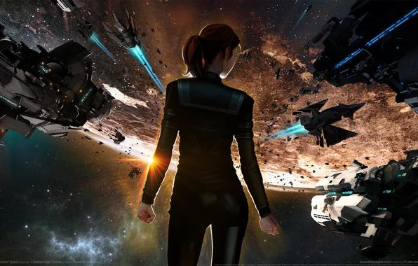 Космические корабли среди астероидов  обои для рабочего