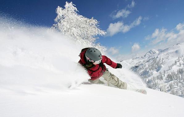Картинка зима, девушка, снег, горы, сноуборд, спуск, шлем, адреналин