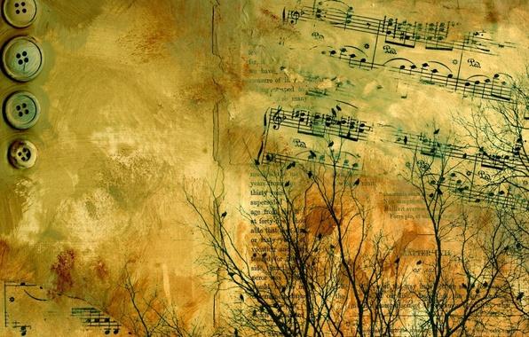 Картинка ветки, текст, абстракция, бумага, буквы, ноты, надпись, пуговицы, жёлтая, старая