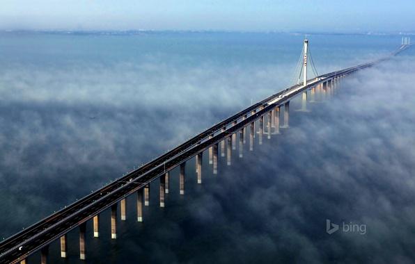 Картинка море, небо, мост, туман, китай, опора