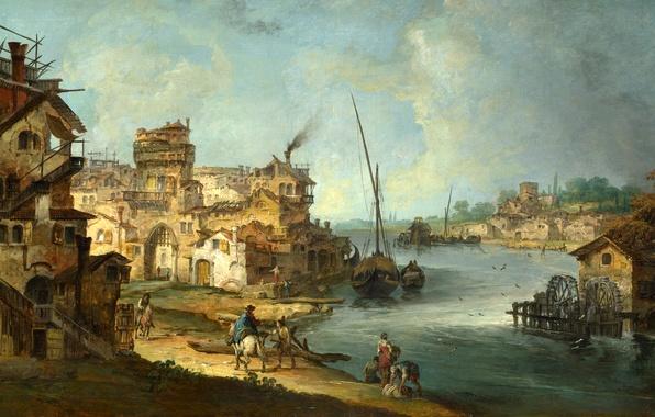 Картинка пейзаж, город, река, люди, лодка, дома, картина, мельница, канал