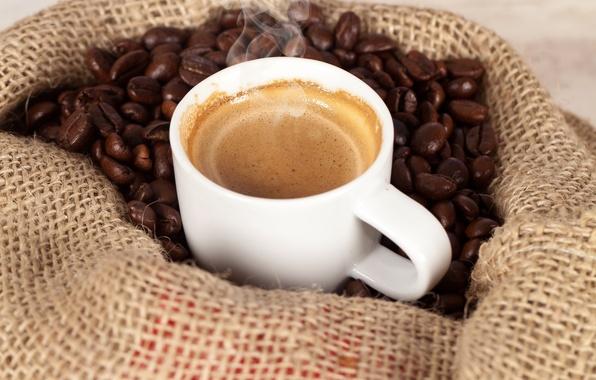 Фото обои зерна, пар, кофе, пена, мешок