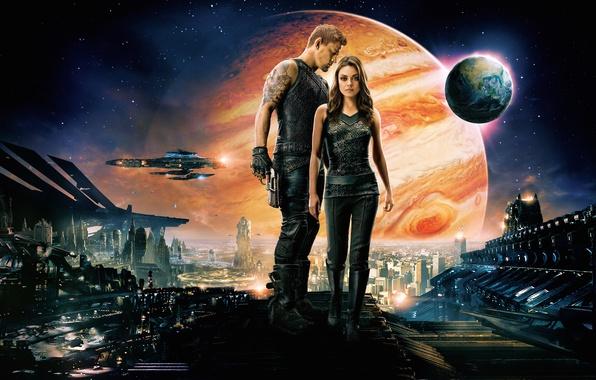Картинка Girl, City, Action, Fantasy, Sky, Planets, Stars, Galaxy, Warrior, Queen, Wallpaper, Mila Kunis, Princess, Boy, …