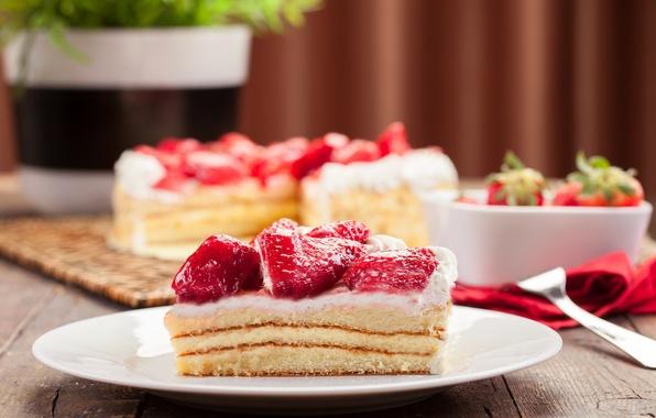 Картинка ягоды, сливки, клубника, сладости, торт, пирожное, крем, десерт, сладкое, кусочек
