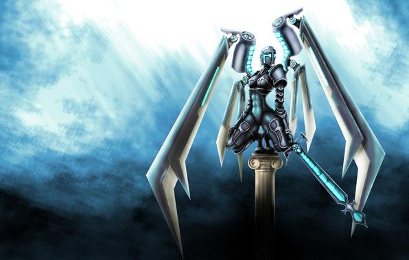 Картинка оружие, фон, робот, крылья, меч, арт, киборг, фантатика