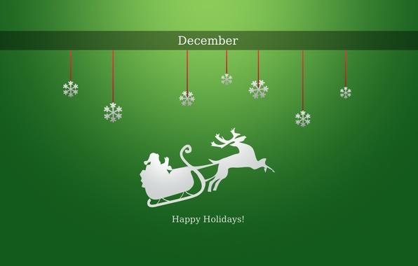 Картинка зима, снег, снежинки, праздник, новый год, текстура, олень, new year, дед мороз, санки, зеленый фон, ...
