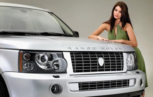 Картинка девушка, фон, модель, тюнинг, Спорт, Land Rover, Range Rover, красотка, tuning, передок, Sport, Лэнд Ровер, …