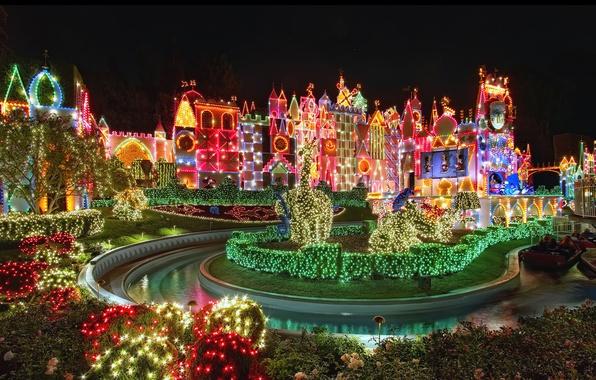 Картинка небо, праздник, весело, Рождество, красиво, ярко, Диснейленд, Christmas, Disneyland