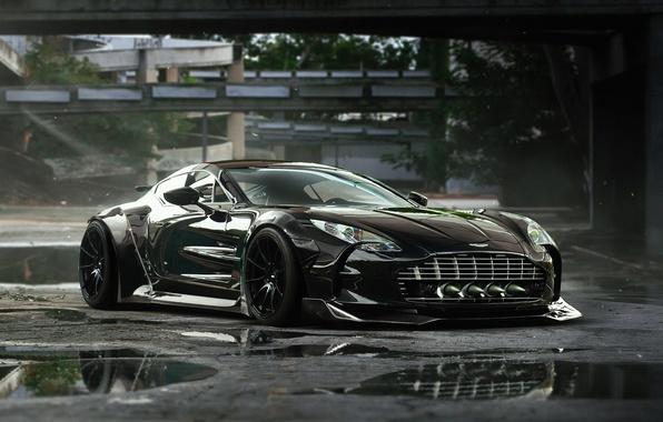Картинка Aston Martin, Black, Tuning, Future, Supercar, ONE-77, by Khyzyl Saleem